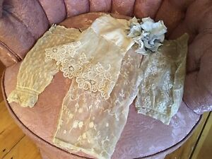 Collection Of 4 French Tambour Lace Sleeve Cuffs Cotton Netting Axu