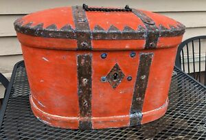 Swedish Sverige Sweden 1800 S Traveling Wood Oval Chest With Iron Work Painted