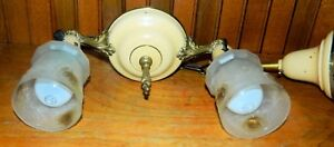 Vintage Art Deco Brass Ceiling 2 Light Fixture Hanging Shade