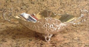 Vintage Heavy Silverplate Candy Mint Nut Dish