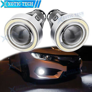 White Led Projector Lens Halo Angel Eyes Fog Lights Kit For 2016 Honda Civic