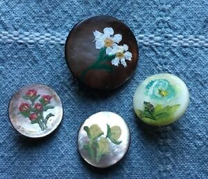 4 Antique Vtg Mop Buttons Hand Painted Flowers Pearl Shell Old Lot