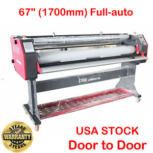 Pro 67 Full auto Wide Format Single Side Hot Laminating Cold Roll Laminator Usa