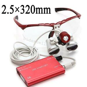 Red Dental Medical Surgical Loupes 2 5x 320mm Optical Glass head Light Portable