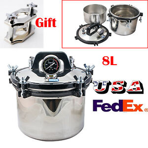 usa 8l Portable Steam Autoclave Sterilizer Dental Medical Stainless free Gift