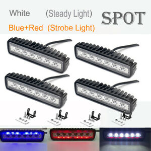 4pcs 18w Flash Led Spot Lights Work Bar Lamps Driving Fog Offroad Car Boat Truck