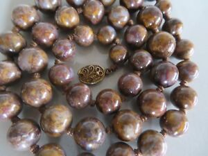 Vtg Chinese Export Jasper Stone Bead Necklace Marked Silver Filigree Clasp