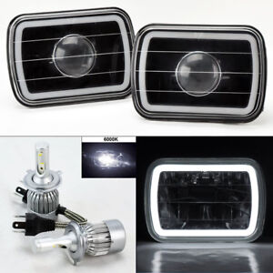7x6 Black Projector Glass Ccfl White Halo Headlights 6k 36w Led H4 Bulbs Chvy
