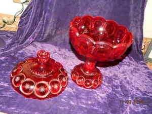 Lg Antique Christmas Red Pressed Glass Pedestal Bowl W Lid Moon