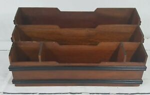 Vintage Selamat Designs Mahogany Wood Desk Organizer Letter Holder