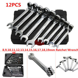 12pcs Flexible Head Metric Ratcheting Wrench Spanner Auto Repair Tool Set 8 19mm
