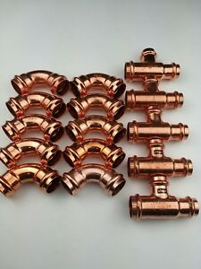 Lot Of 15 1 Propress Copper Elbows Tees Lead Free