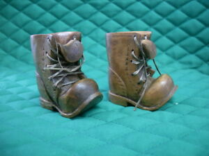 Vintage Small Pair Of Hand Carved Wooden Boots With Laces 2271