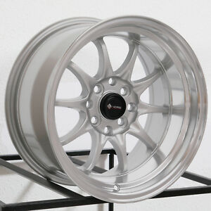 15x8 Vors Tr3 4x100 4x114 3 0 Silver Wheels Rims Set 4