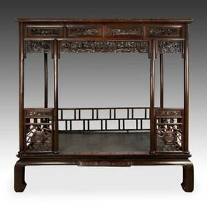 Rare Antique Chinese Canopy Bed Carved Hardwood Furniture China 19th C