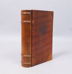 Handsome Antique Early 20c Figured Wooden Book Form Box Aafa