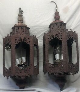 Set Of 2 Early 1900 S Antique 27 Metal Hanging Wall Light Fixture Need Work