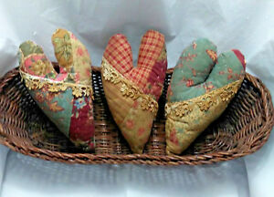 Primitive Heart Bowl Fillers Valentines Day Ornies Prim Set Of 3 Grungy Cinnamon