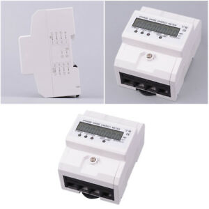 1pc Energy Meter Lcd Display 3 Phase 4 Wire Rail Volt Amp Power Meter For Indoor