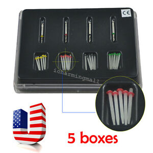 5 Boxes Usa Dental High intensity Quartz Straight Pile Fiber Resin Post 4 Drills