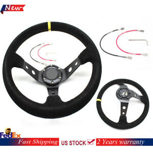 350mm Deep Dish 6 Bolt Black Racing Steering Wheel Suede Leather