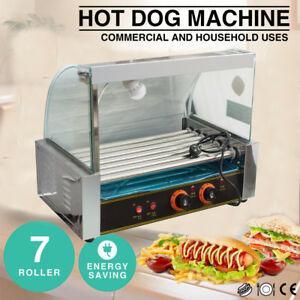 Us Roller Commercial 18hotdog Hot Dog 7roller Grill Cooker Machine W cover Shop