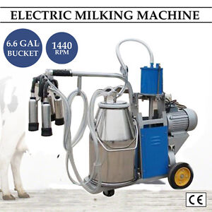 Electric Milking Machine Milker Goat Sheep Cattle Bucket 25l Vacuum Piston Pump