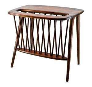 Rare Mid Century Arthur Umanoff Walnut Side Table W Magazine Rack