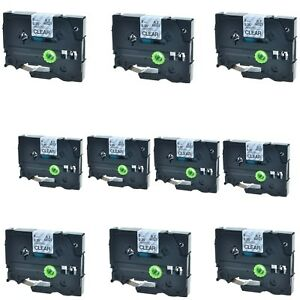 10pk Black On Clear Tz121 Tze121 Label Tape For Brother P touch Pt 550 9mm 3 8