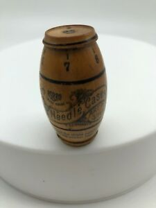 Vintage Sewing Needle Case Barrel Shape Wood Made In Germany