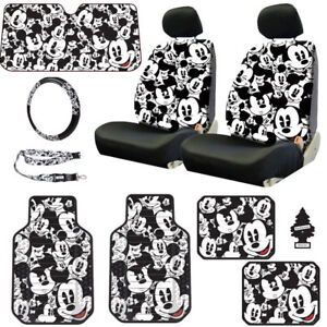 For Toyota New Mickey Mouse 10pc Car Seat Covers Floor Mats And Accessories Set