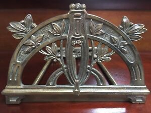 Antique Judd 9790 Art Nouveau Brass Bookends Slider