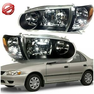 For 2001 2002 Toyota Corolla Jdm Headlight Black Housing And Corner Lamps