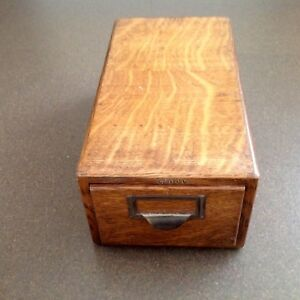 Antique Tiger Oak Globe Index Card Catalog Filing Box Original Patina