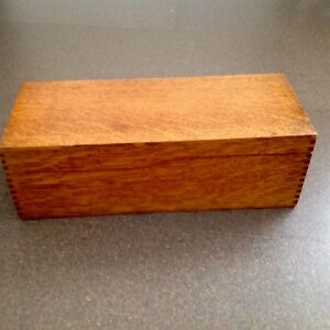 Antique Quartersawn Oak Globe Index Card Catalog Filing Box Original Patina