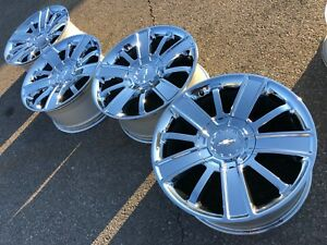 20 Chevy Chevrolet Tahoe Silverado Oem Factory High Chrome Stock Wheels Rims