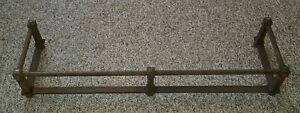Antique Reclaimed Cast Iron Rail Fireplace Fender Mantle Rail Bar Vtg