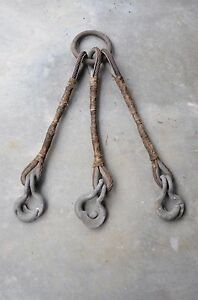 Rigging Steel Wire Rope Sling 3 Way Bridle Lifting Cable Split Hook 2 Long