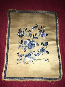 Antique C1890 Chinese Finely Embroidered Panel Gold Silk With Blue Flowers
