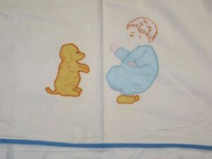 Antique Vintage Bedspread Little Boy Puppy Hand Embroidery Applique Bedspread