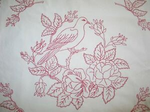 Victorian Layover Sham Antique Pillowcase Red Work Embroidery Birds Flowers