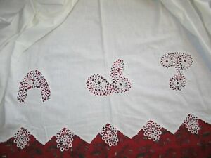 Antique Vintage Bed Sheet Coverlet Hand Made Tatted Lace French Country Cottage