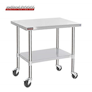 Durasteel Stainless Steel Work Table 30 X 48 X 34 Height W 4 Caster Wheels
