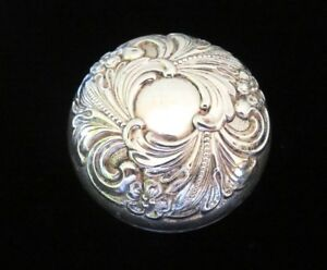 Vintage Ornate Art Nouveau Style Alvin Embossed Sterling Silver Cover Yo Yo Toy