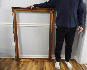 Vintage Xl Ornate Carved Wood Gold Gilt Picture Frame 34 X 47 Fits 28 X 42