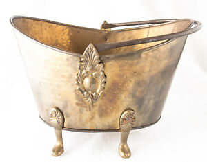 Metal Brass Pail Scuttle Bucket Coal Hod Ornate Footed India Hand Made 12 X 15