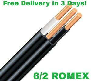 6 2 W ground Romex Indoor Electrical Wire 30 Feet all Lengths Available