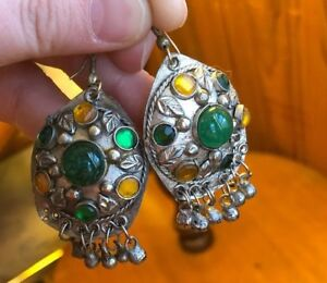 Antique Arts And Crafts Era Earrings Silver Tone With Green And Yellow Stones
