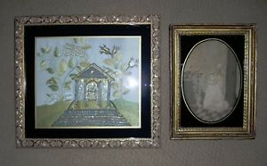 Two Antique Early 19th Century American Memorial Mourning Silk Embroideries