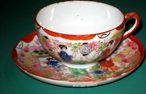 Japanese Style Tea Cup Saucer Geishas Hand Painted Porcelain Red 5 D Saucer